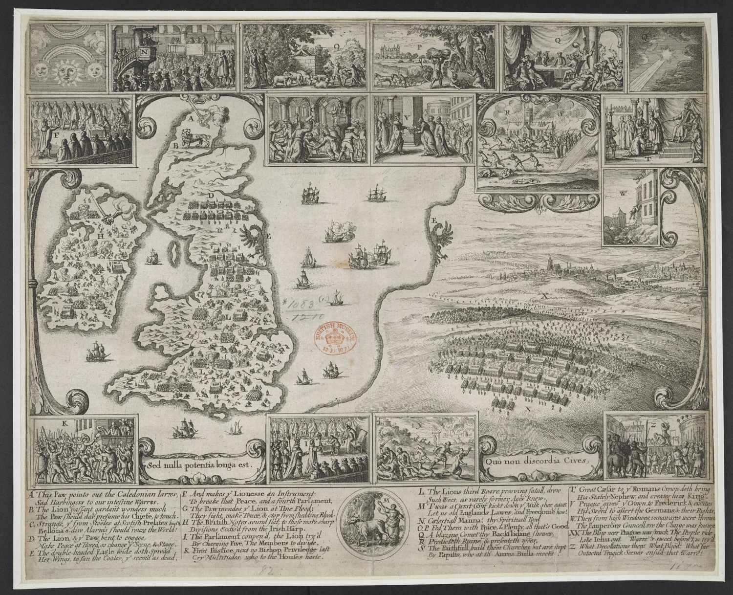 Wenceslaus Hollar's map comparing the English and Bohemian civil wars