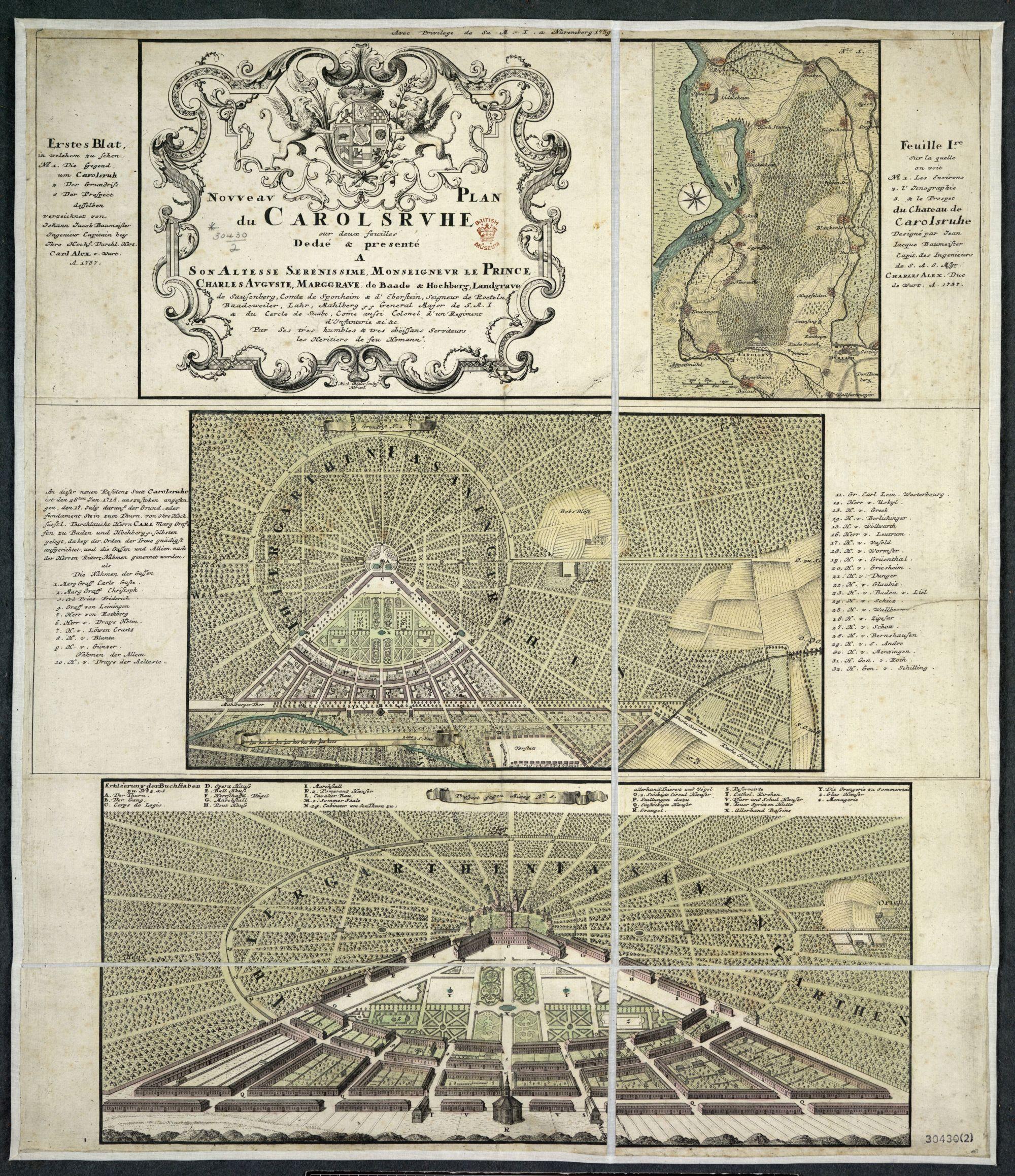 Johann Jacob Baumeister, Nouveau plan du Carolsruhe (Nuremberg: Homann's Heirs, 1737). Maps 30430.(2).