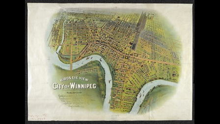 A lithograph from 1900 showing a bird's eye view of Winnipeg.