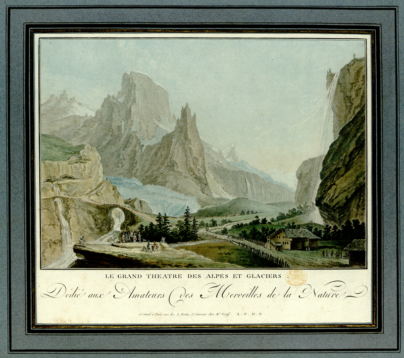 Summary: A group of two women and three men stand before an easel at the edge of a precipice, while two other men holding a book contemplate a rainbow formed above a waterfall at left and a draughtsman depicts an Alpine road and some wooden cabins next to another waterfall at right, with a caravan crossing a bridge, mountains and glaciers in the background.  Summary: Titled 'Vingt Vues remarquables des Montagnes de la Suisse, dessinées par Clement et Wolff, gravées par Descourtis et Janinet, et publiées par Hentzy et Wagner: avec une Description, 1785. In a Case. Folio' in the Catalogue of the Maps, Prints, Drawings, etc., forming the geographical and topographical collection attached to the Library of his late Majesty King George the third, etc., London, 1829.