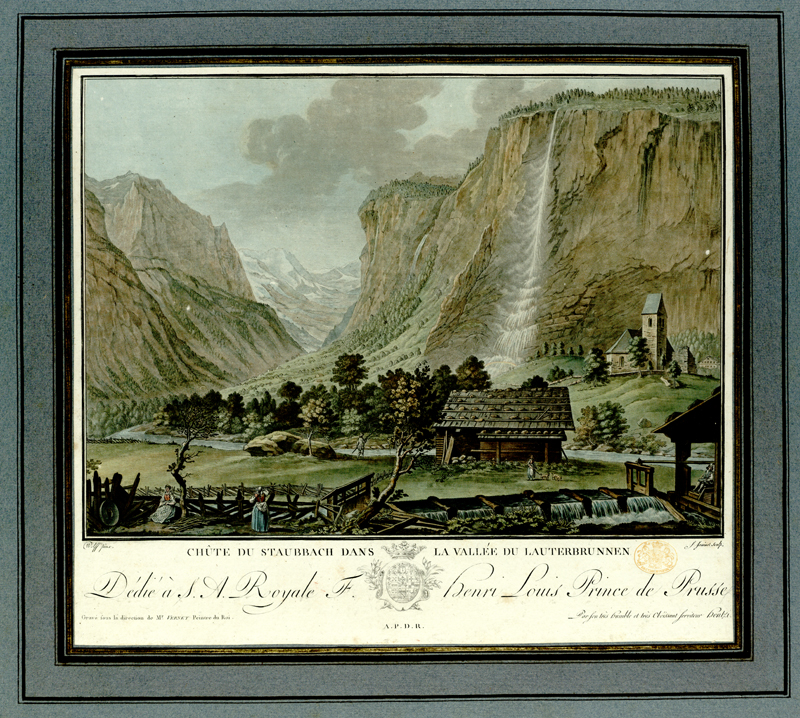 Summary: Two women work next to a sluice in the foreground, with wooden cabin by the Lütschine River beyond and view of the Staubbach Falls in the background.  Summary: Titled 'Vingt Vues remarquables des Montagnes de la Suisse, dessinées par Clement et Wolff, gravées par Descourtis et Janinet, et publiées par Hentzy et Wagner: avec une Description, 1785. In a Case. Folio' in the Catalogue of the Maps, Prints, Drawings, etc., forming the geographical and topographical collection attached to the Library of his late Majesty King George the third, etc., London, 1829.