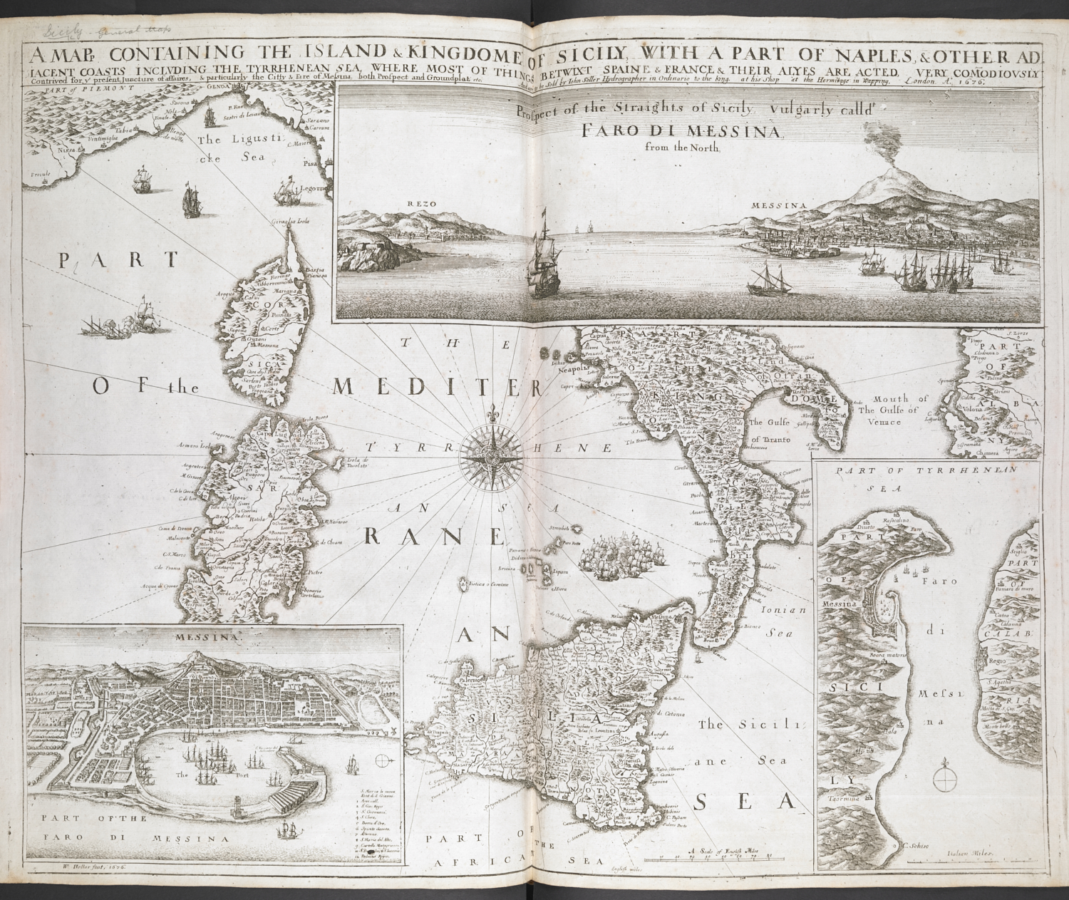 Wenceslaus Hollar's map of Sicily [1680]