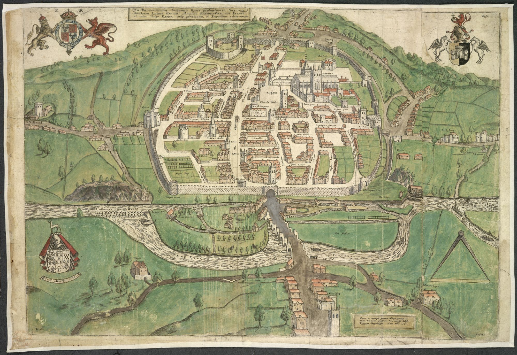Map Of Uk Exeter.Isca Damnoniorum British Library Picturing Places The British