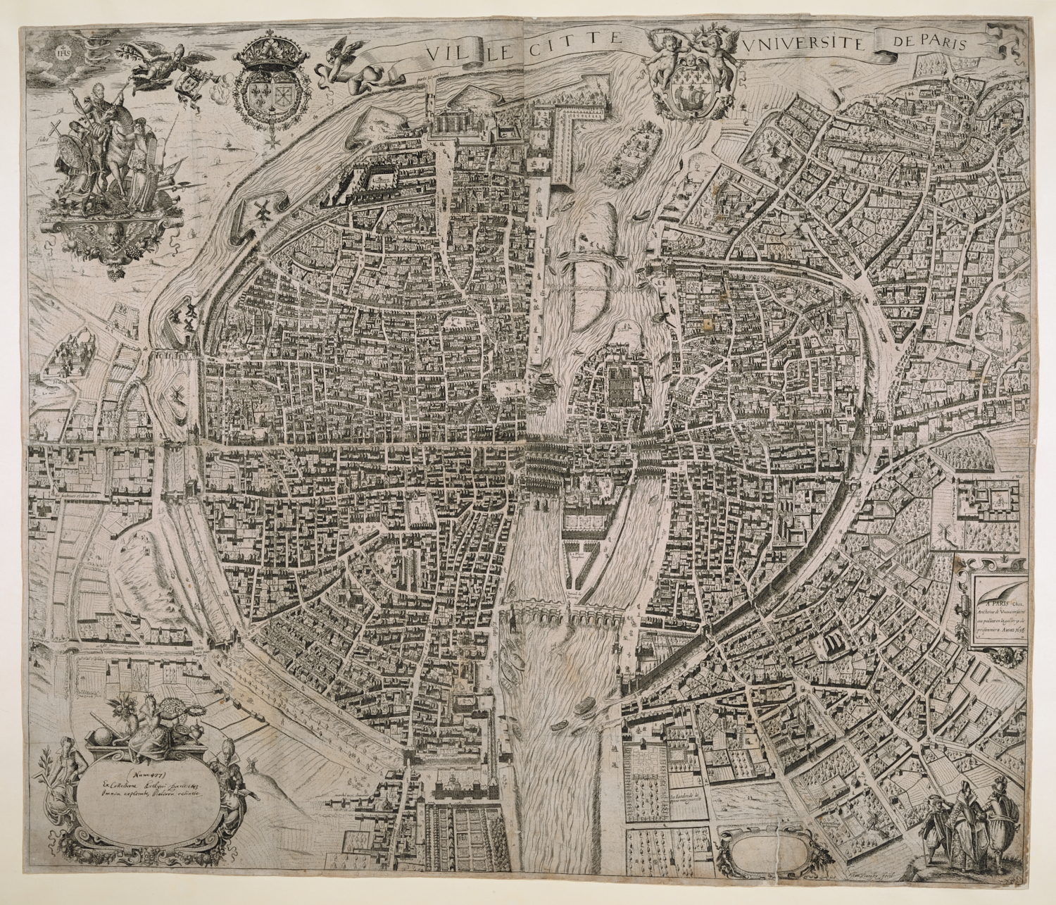Jan Ziarnko (1575-1630), Ville Citte Universite de Paris, published by Anthonie de Vuauconsains, Paris, 1616, 67 x 78 cm, Maps CC.5.a.500.
