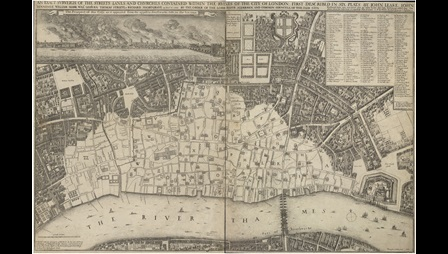 Hollar's map showing the damage from the Great Fire of London.