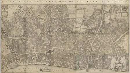 A LARGE AND ACCURATE MAP OF THE CITY OF LONDON. : Ichnographically Describing all the Streets, Lanes, Alleys, Courts, yards, Churches, Halls and Houses &c. Actually Surveyed and Delineated, / By John Ogilby, Esq; His Majesties Cosmographer. 1677.