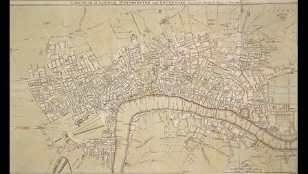 John Noorthouck, A New Plan of London, Westminster, and Southwark, (London: J. Noorthouck, 1772), copperplate engraving Maps Crace Port 4.139