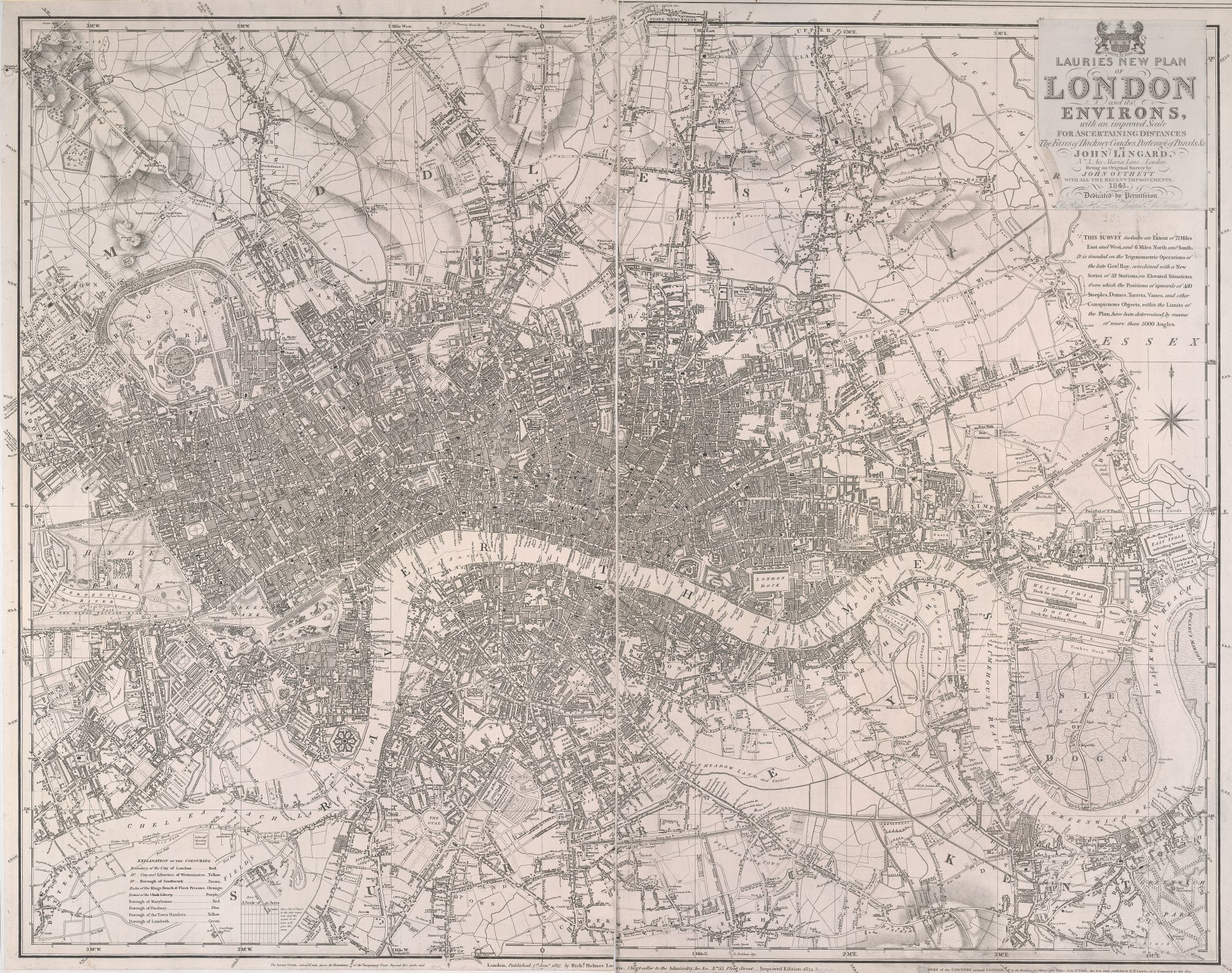 Richard Holmes Laurie, Laurie's new plan of London and its environs, (London: R. H. Laurie, 1834-5), copperplate engraving British Library Maps Crace Port. 7.239