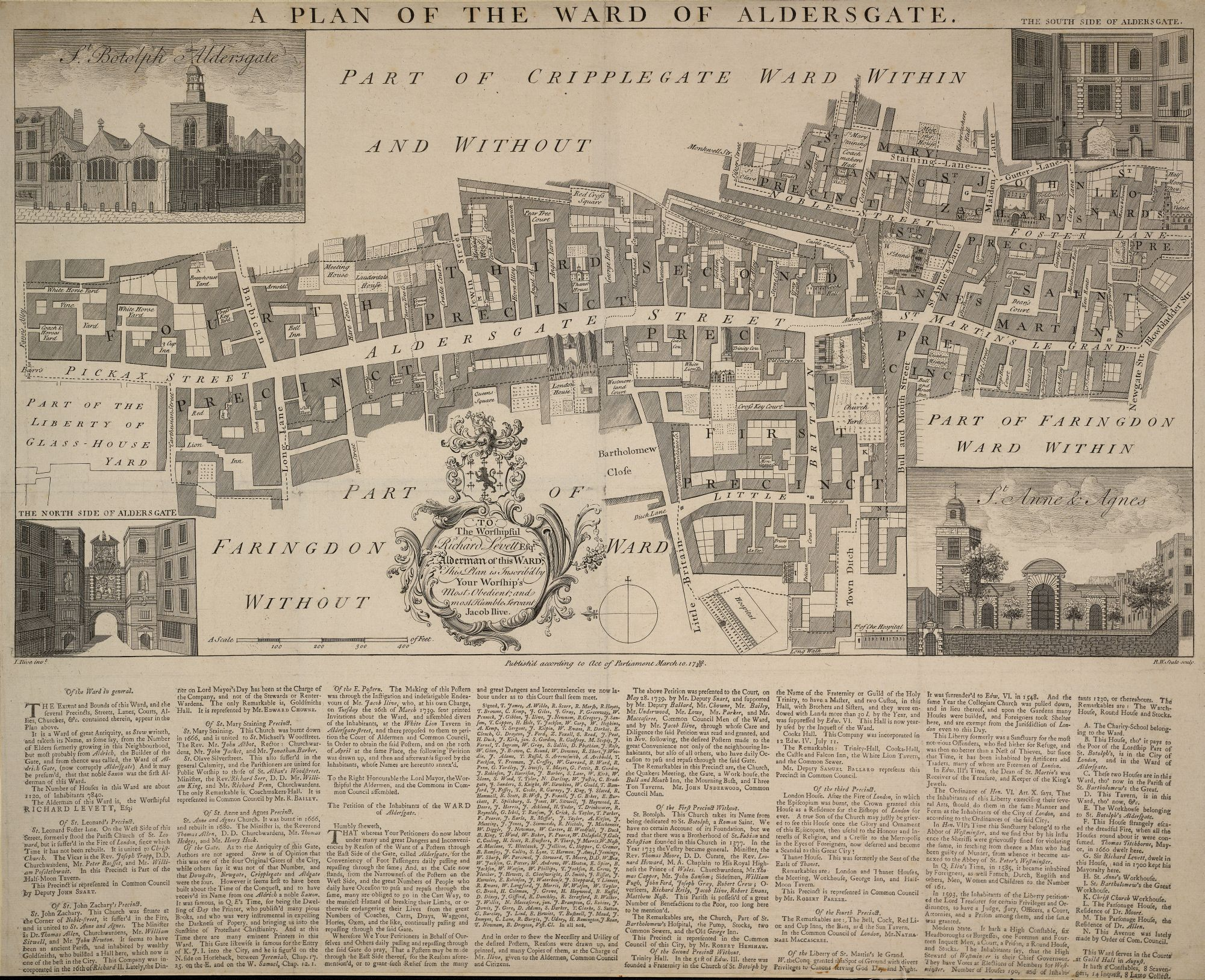 Richard William Seale after Jacob Ilive , A plan of the ward of Aldersgate (London: Jacob Ilive, 1739).Maps Crace Port. 8.2