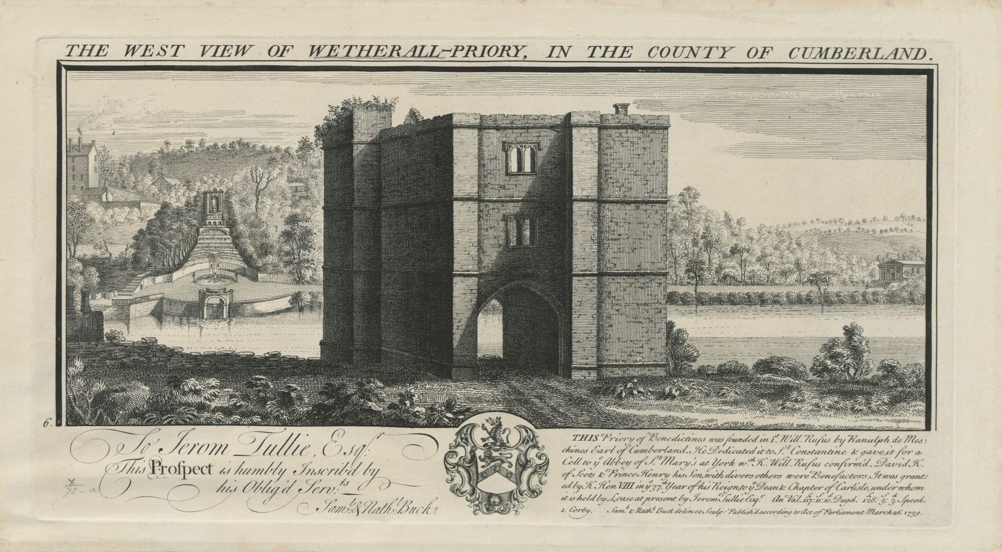 THE WEST VIEW OF WETHERALL-PRIORY, IN THE COUNTY OF CUMBERLAND