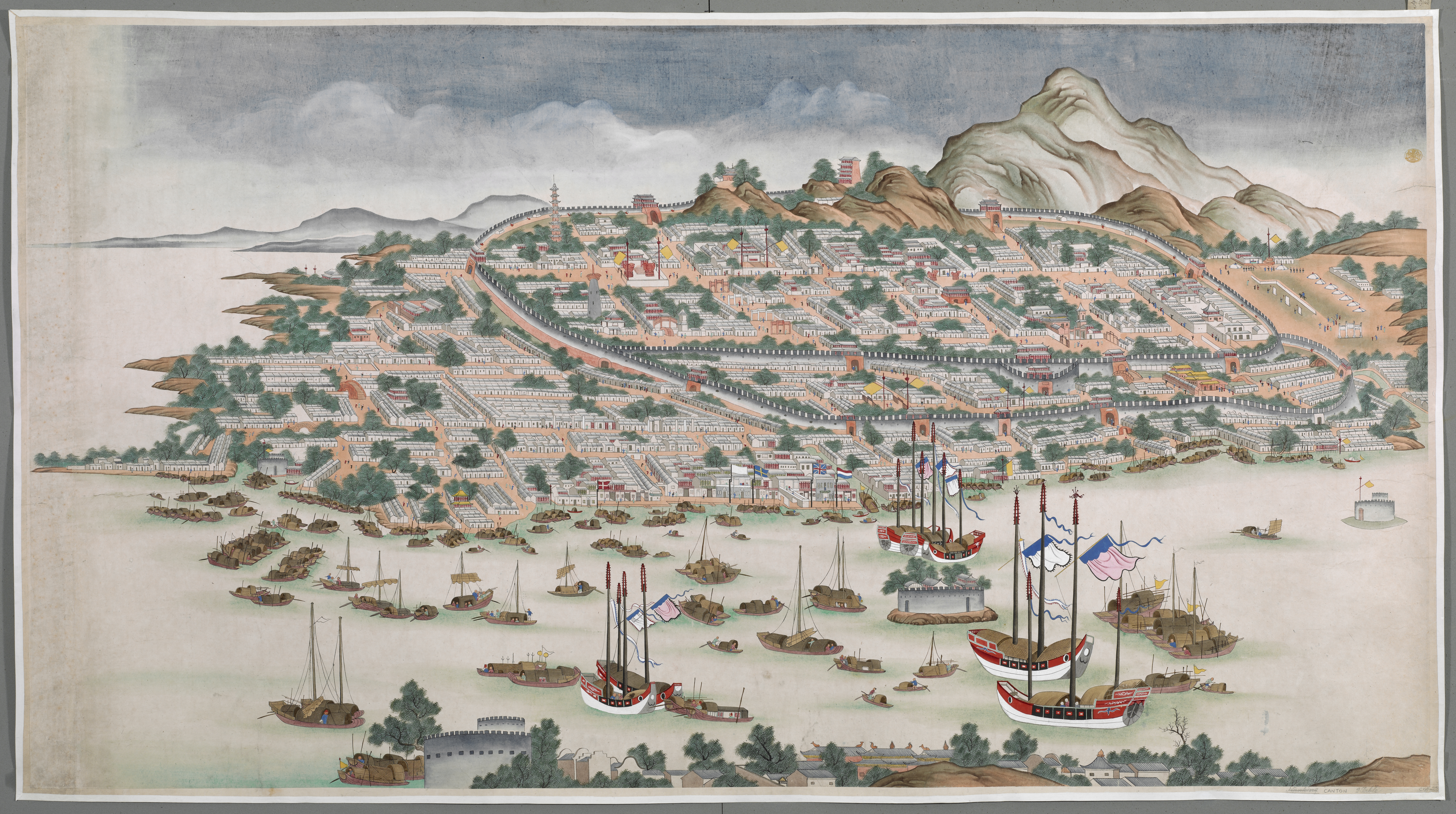 Bird's-eye view of Canton, with Chinese junks in Pearl River and harbour in the foreground, Western factories and New City beyond, and Old City within fortified walls and mountains in the background.