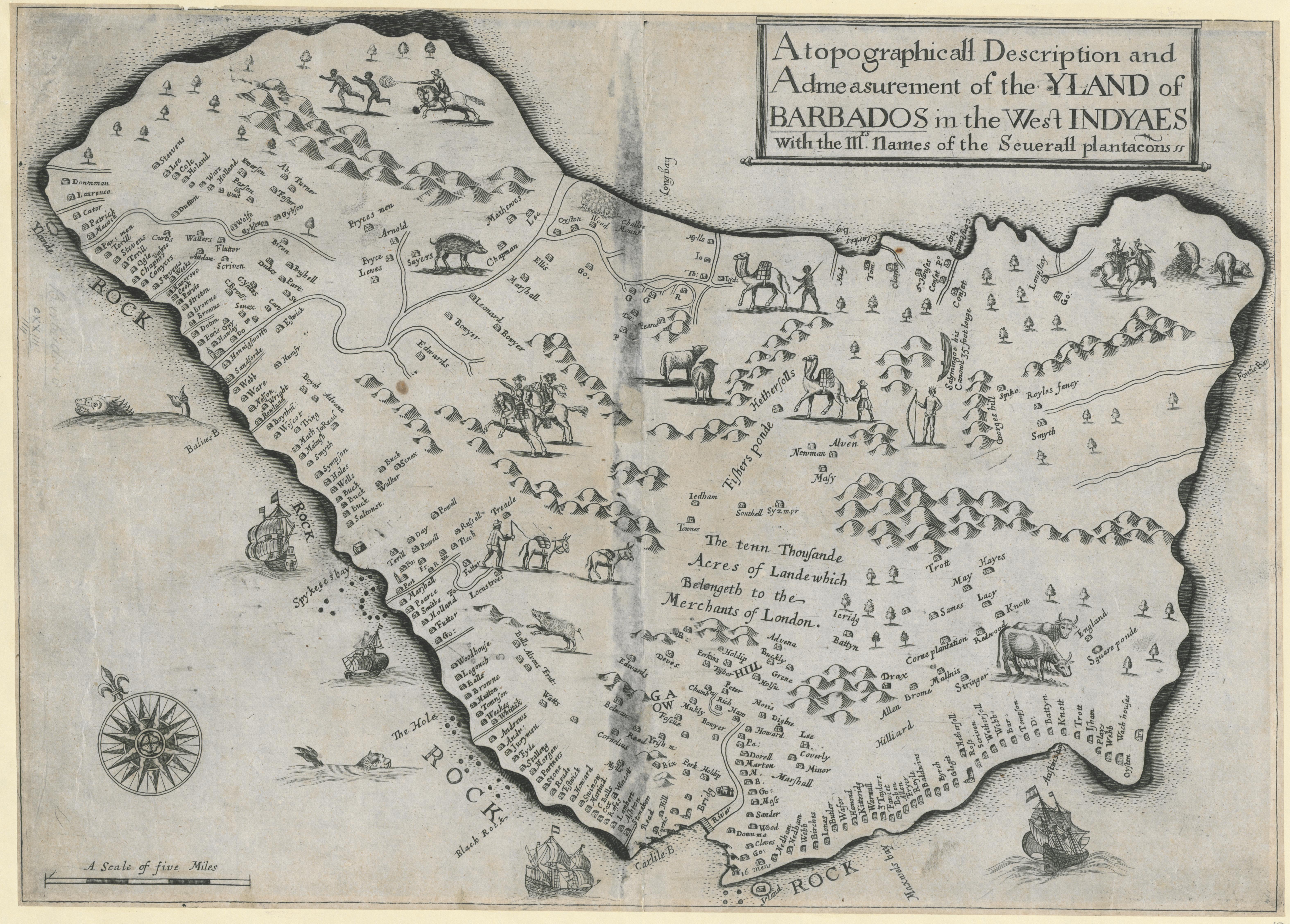 Richard Ligon's Map of Barbados