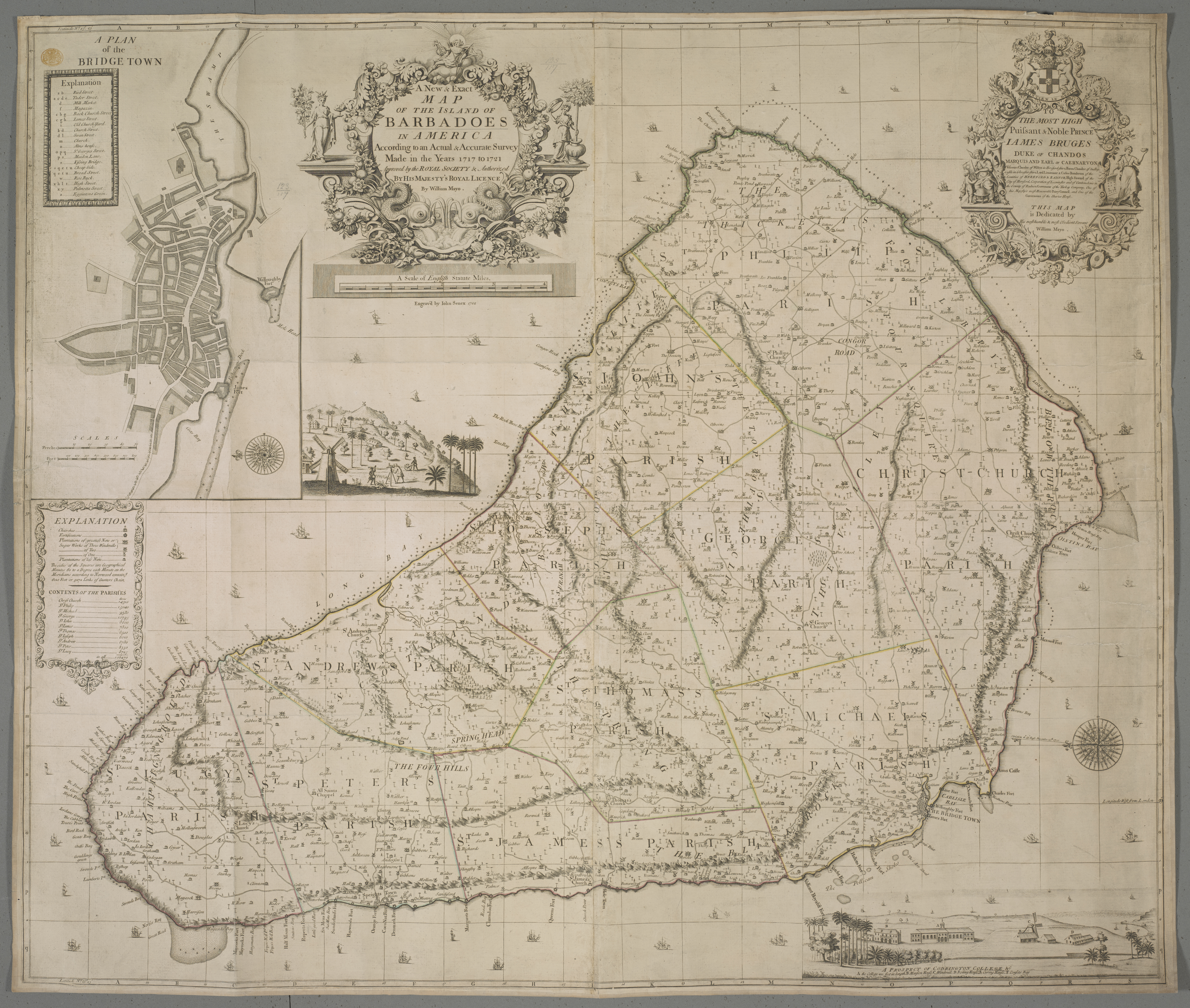 A New and Exact Map of the Island of Barbadoes by William Mayo