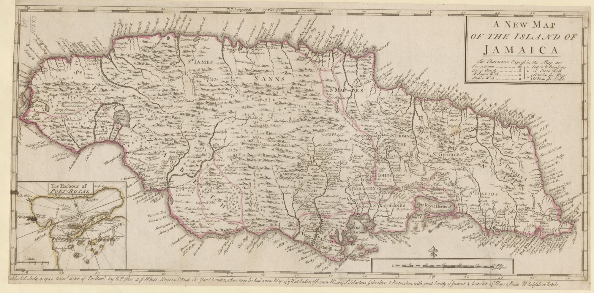 George Foster's Map of Jamaica published in 1740