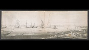 A panoramic view of Portsmouth; figures in the foreground; ships on the sea. Squared up in pencil.