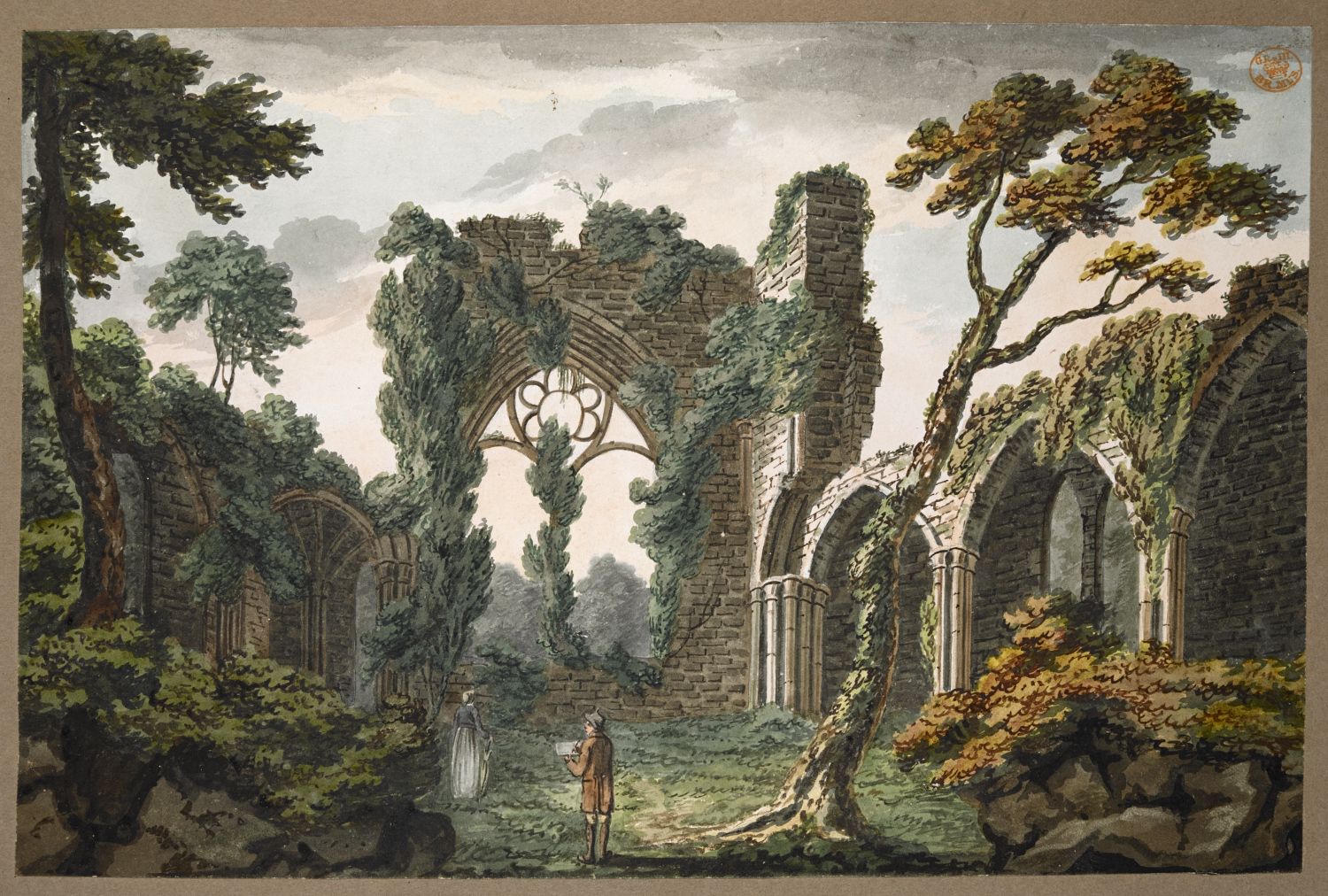 Interior View of the East End of Netley Abbey near Southampton. Summary: A man sketching and a woman standing in the interior of the ruins of Netley Abbey; trees and foliage throughout the scene. Inscribed with title in black ink on verso. Inscribed 'O' in black ink on verso.
