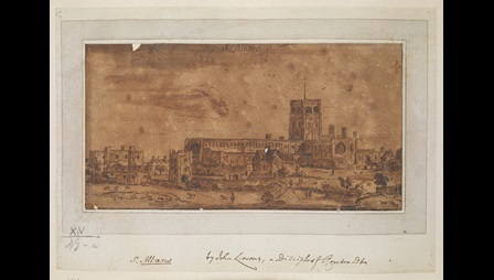 View of St Albans Cathedral; figures, cattle and horses in fields in the foreground; houses in front and to the left. Bears inscription by a later hand 'St. Albans. by John Lievens, a disciple of Rembrandt' in brown ink along lower edge of support sheet. Bears inscription by a different hand 'This is by M. van Overbeek, also a disciple of Rembrandt, of drawings of Margate and Westminster in P & D (British Museum). ECM. 17 March 1967' in pencil on guard volume page.