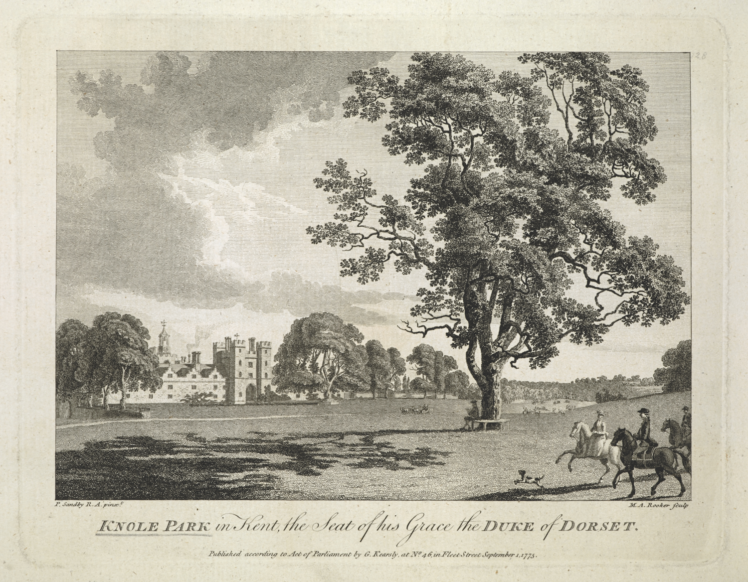 KNOLE PARK in Kent, the seat of his Grace the DUKE of DORSET. / P. Sandby R.A. pinxt.; M.A. Rooker sculp. Illustration to: 'The Copper plate magazine; or, Monthly treasure, for the admirers of the imitative arts'. (London [England] : printed for G[eorge]. Kearsly, no. 46, Fleet Street, 1774-1778.).  View of Knole Park, the large and sprawling house beyond with turrets on either side of the gatehouse, a lake and woods in the park beyond, a carriage driving along the road, a large tree to the middleground with an encircling bench with a gentleman reading a book, three elegant riders with a dog to the foreground.