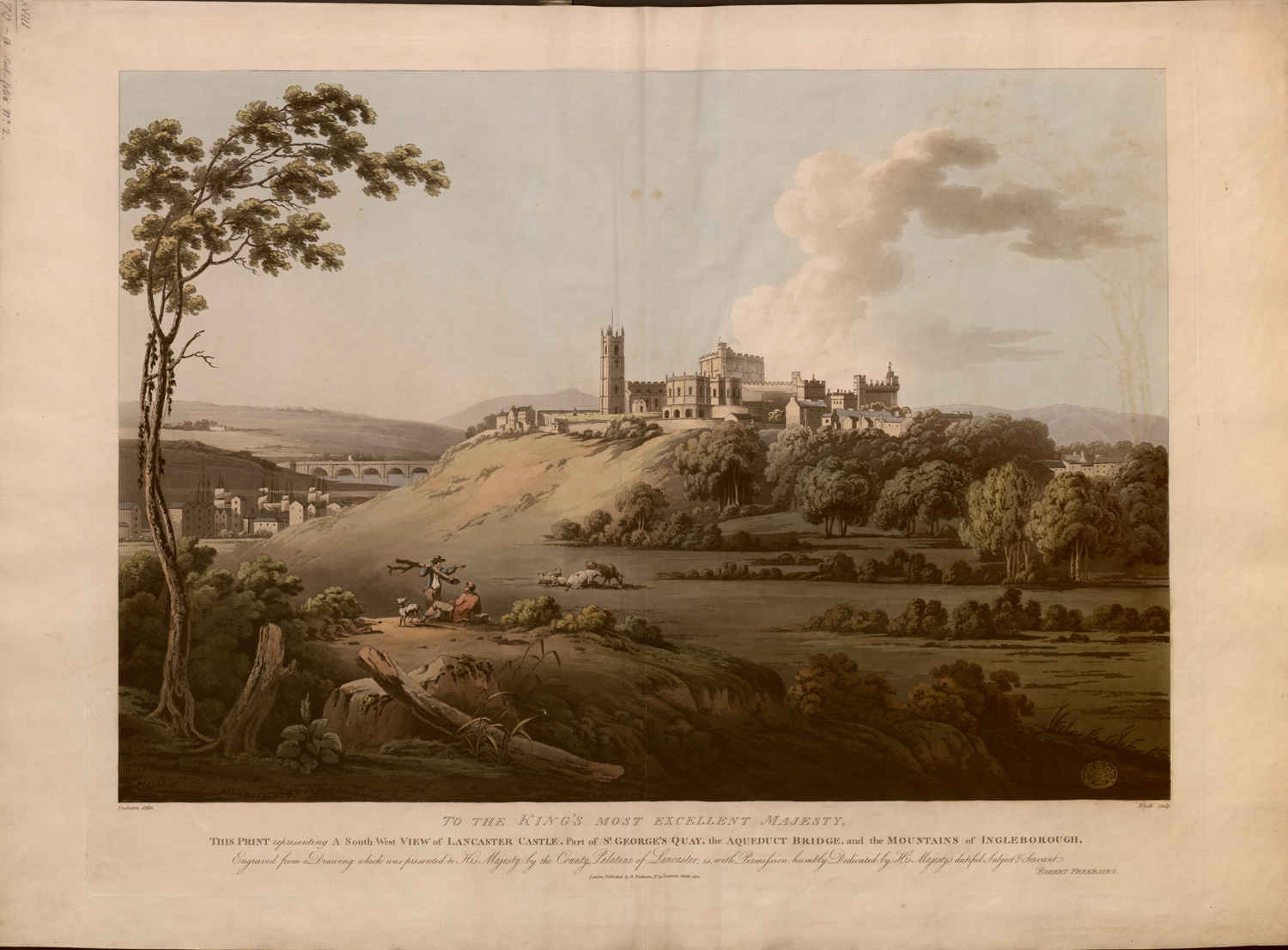 A South West view of Lancaster Castle after Robert Freebairn