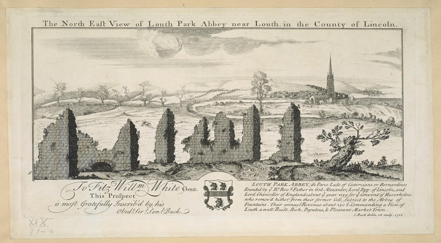 N.E. View of Louth Park Abbey near Louth, by Samuel Buck.