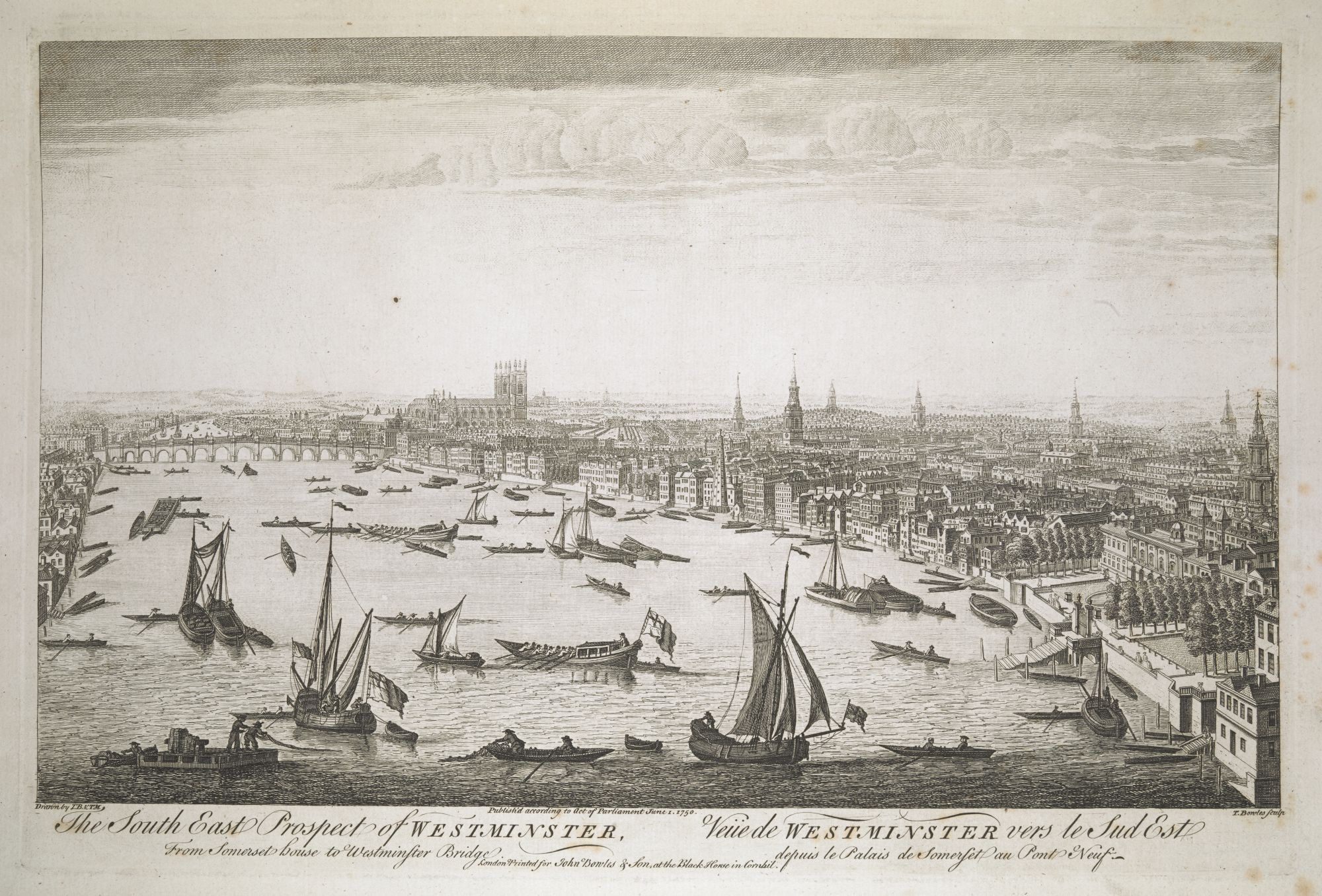 The South East Prospect of Westminster, from Somerset house to Westminster Bridge, by Thomas Bowles and Thomas Mellish.