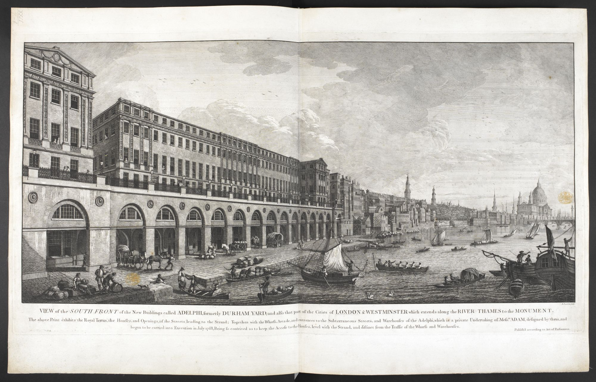 View of the South Front of the New Buildings called Adelphi, by Benedetto Pastorini.