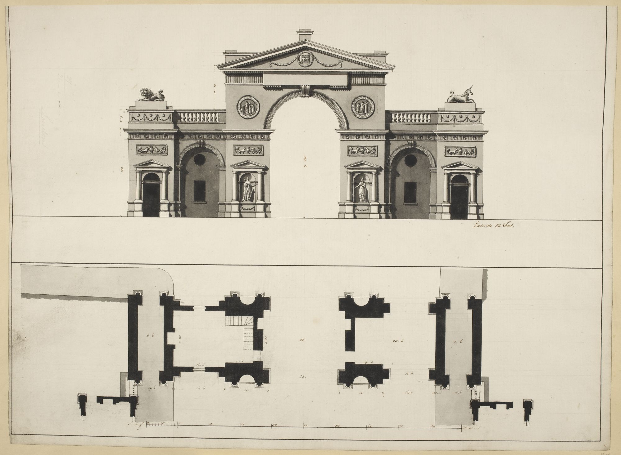 Elevation and plan of a proposed arch at Hyde Park Corner, by Robert Adam.
