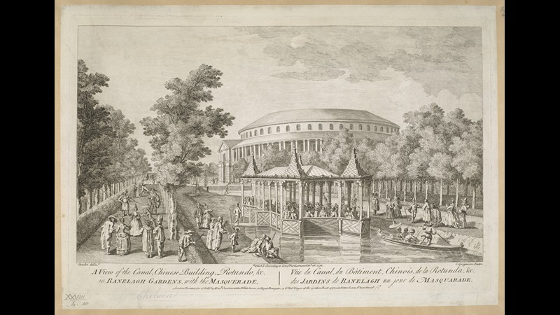 View of the Rotunda in Ranelagh Pleasure Gardens, the building beyond the trees, a Chinese building to the foreground set into the canal with two bridges leading over to the pavilion, a boat on the water, ladies and gentlemen in masquerade costumes throughout the scene.