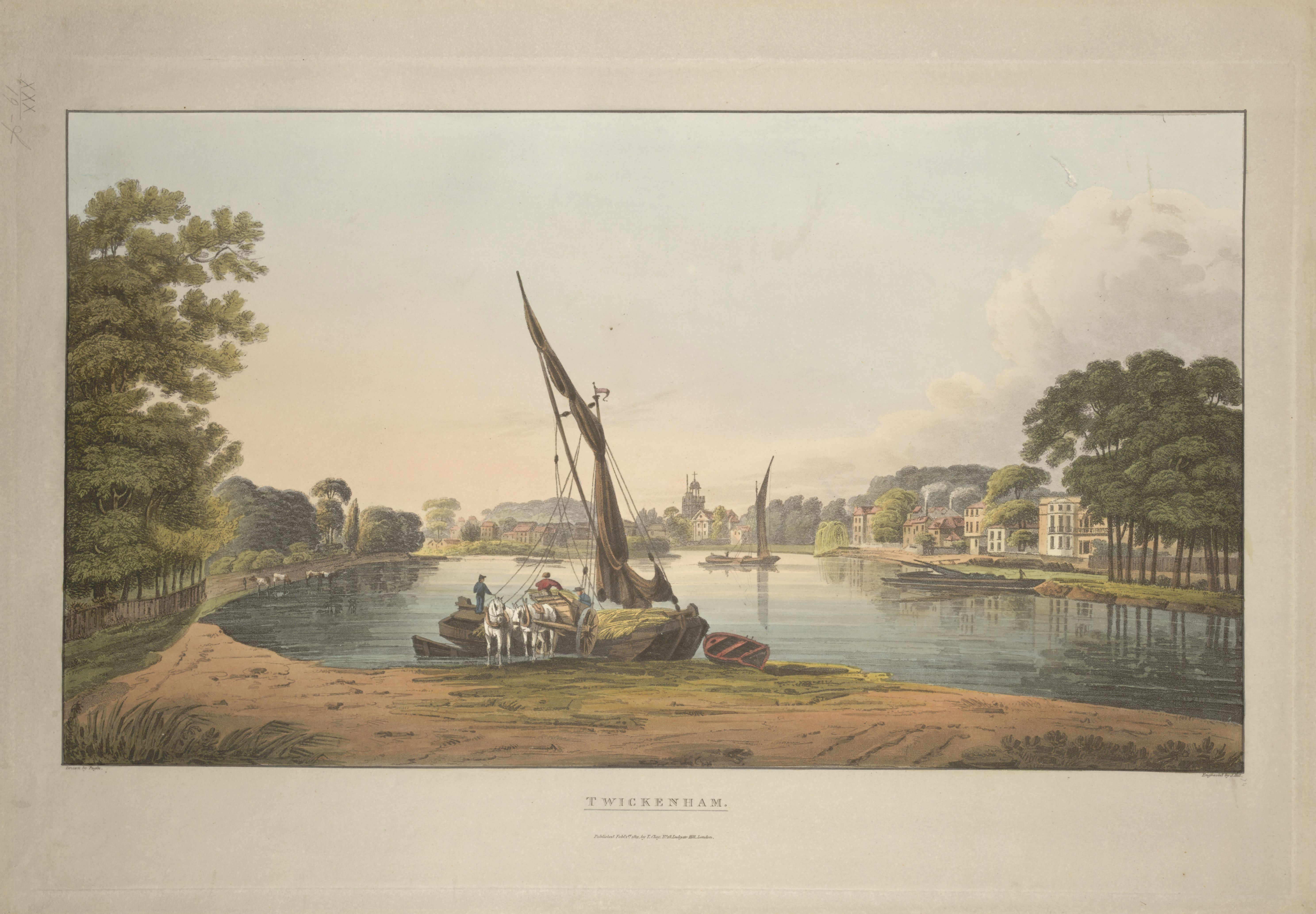 Figures loading cargo from a boat onto a cart led by horses; a river in the centre of the scene; houses on the right bank and in the distance; trees on either side; TWICKENHAM. / Drawn by Pugin ; Engraved by J. Hill. John Hill, 1770-1850, printmaker. [London] : Published Feby 1 1811 by T. Clay No 18 Ludgate Hill London., [February 1 1811]