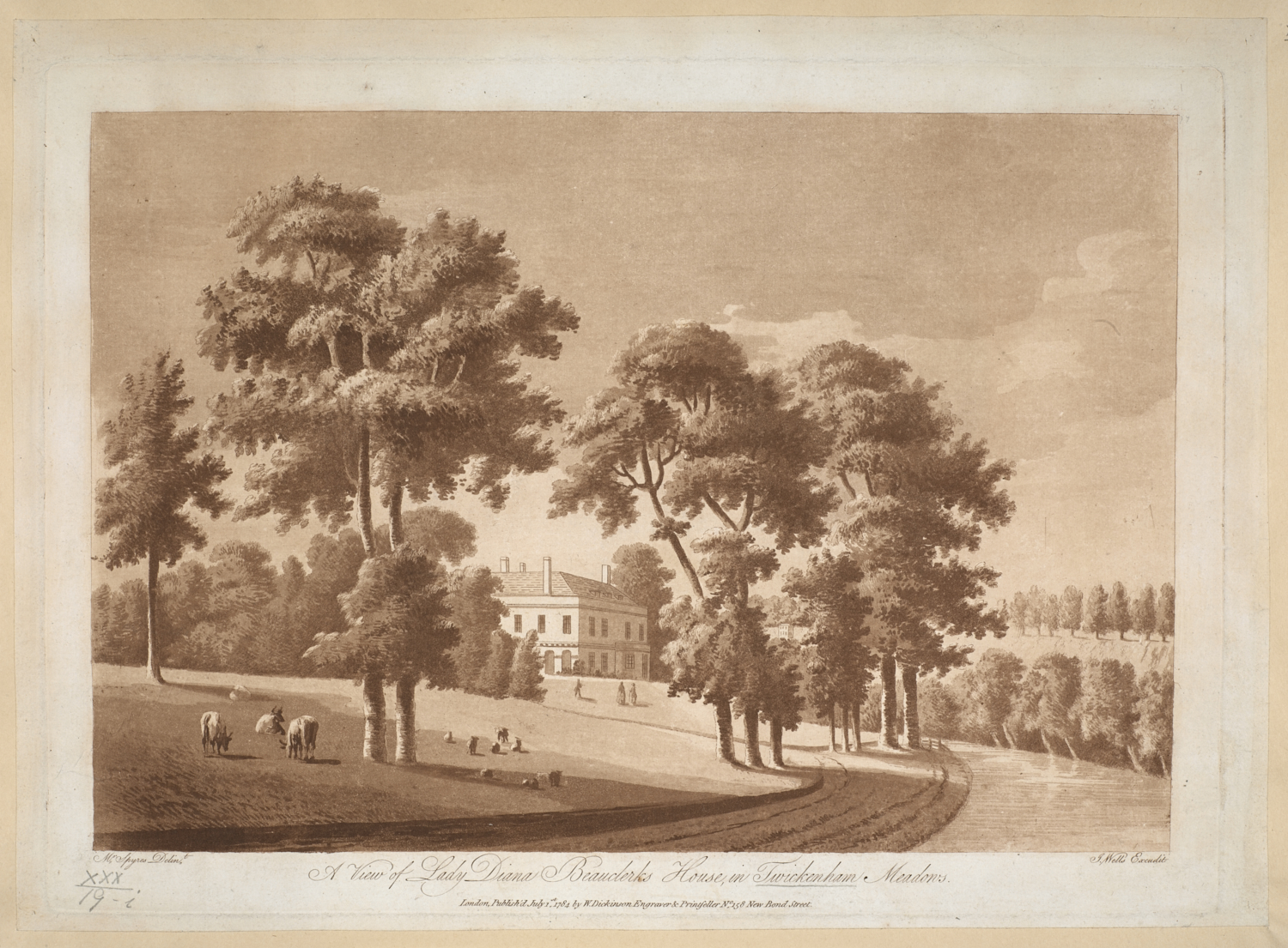 View of Lady Diana Beauclerk's house at Twickenham, the elegant house with stuccoed walls and high chimneys, a wide drive winding through the park towards the house, cattle and sheep grazing on the grass to the left and a few figures on the lawn beyond, wood partially obscuring the house and other trees throughout the scene.  Part of a series of aquatint views of Twickenham, engraved by Wells, after Spyers, and published by Dickinson.  Titled 'View of Lady Diana Beauclerk's House in Twickenham Meadows, by Spyres; engraved by Wells.' in the Catalogue of Maps, Prints, Drawings, etc., forming the geographical and topographical collection attached to the Library of his late Majesty King George the third, etc., London, 1829.