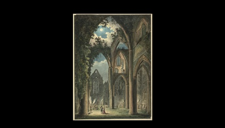 Figures holding torches inside the ruins of an abbey; ivy and foliage growning on the architecture; moonlight breaking through cloud and shining on the scene. Inscribed 'P.V.L.' in brown ink in the lower left-hand corner. Title inscribed in pencil on verso.