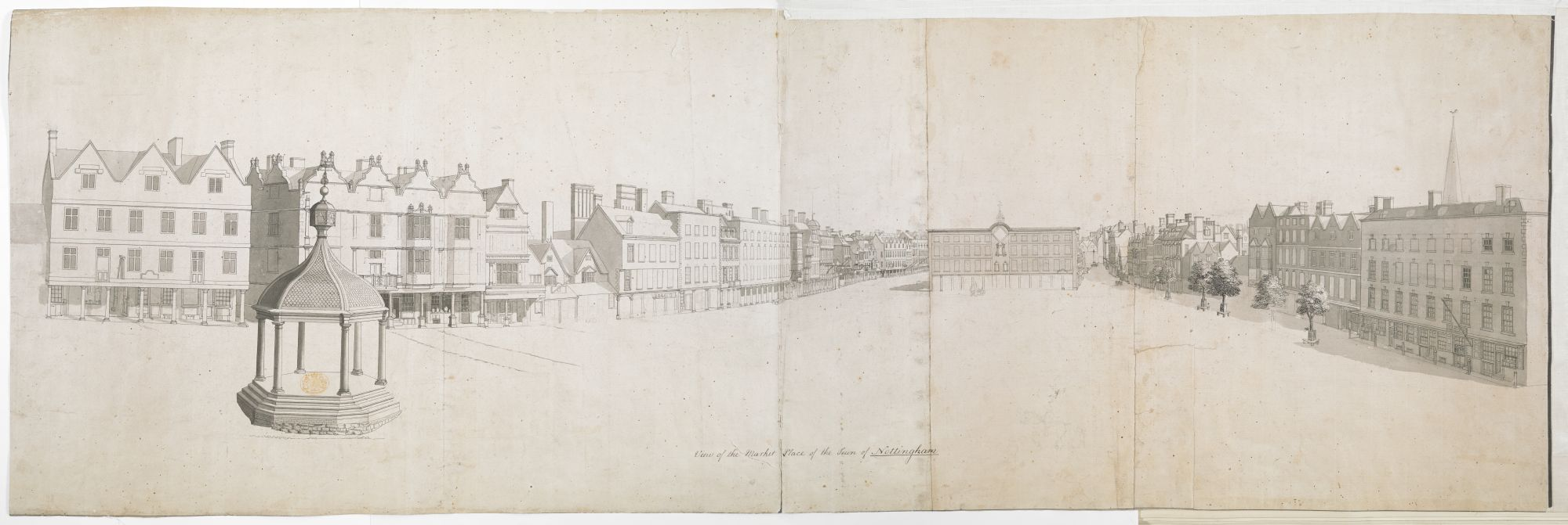 Thomas Sandby's View of the Market Place of the Town of Nottingham; An empty market place; shops on either side and in front; a market square on the left-hand side. Inscribed with title in black ink along the lower edge.