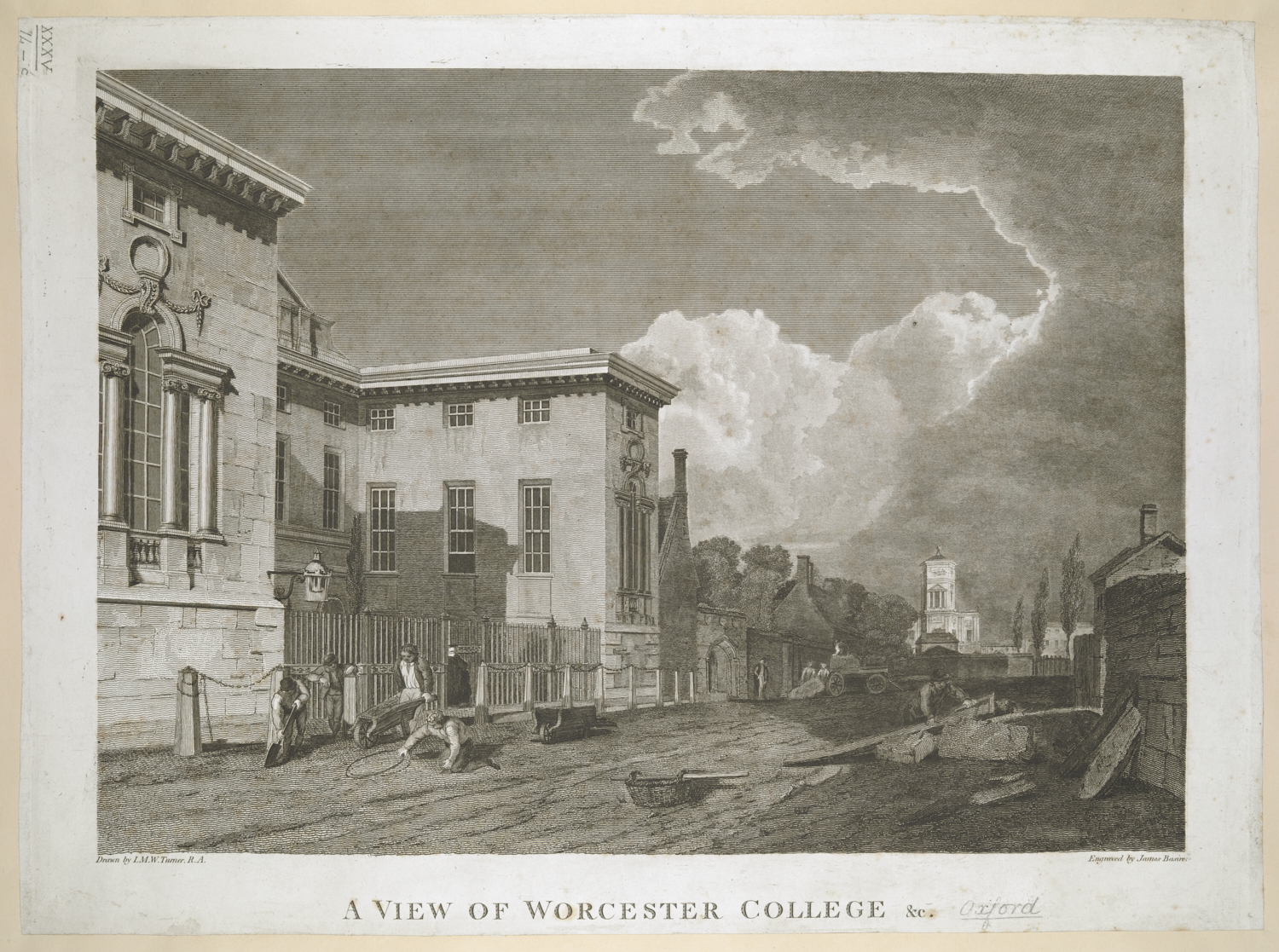 James Basire II (1769-1822) after Joseph Mallord William Turner (1775-1851), A View of Worcester College, published in the Oxford Almanack, Oxford, 1804