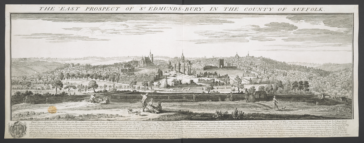 Samuel Buck (1696-1779) and Nathaniel Buck (active 1724-59), The East Prospect of St Edmunds Bury in the County of Suffolk, London, 7 January, 1741, etching and engraving, platemark 305 x 805 mm, image 245 x 780 mm, Maps K.Top.39.13.a.