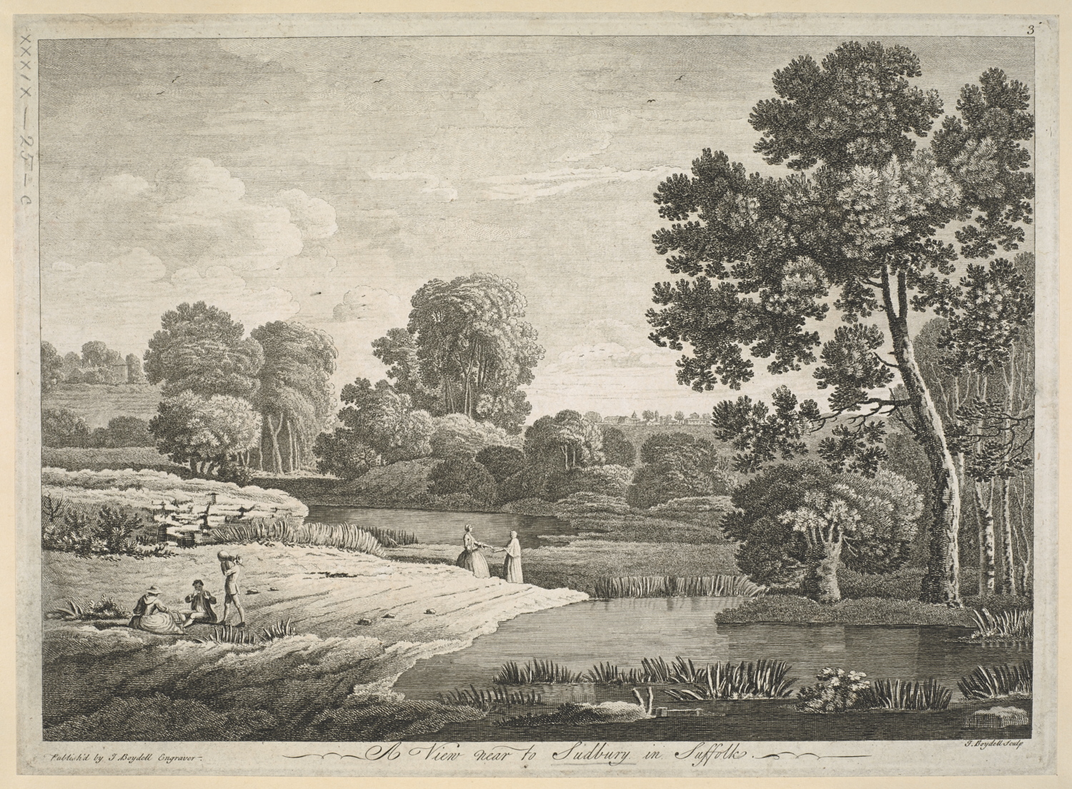 John Boydell (1720-1804) after Thomas Gainsborough (1727-88), A View near to Sudbury in Suffolk, London, John Boydell, about 1747, etching and engraving,  platemark 255 x 350 mm, image 235 x 335 mm, Maps K.Top.39.25.c.