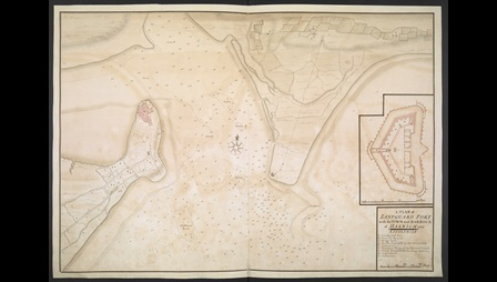 Unknown artist, A Plan of Landguard Fort with the Town and Harbour of Harwich, 1725, pen and ink with coloured wash, Maps K.Top.39.61.