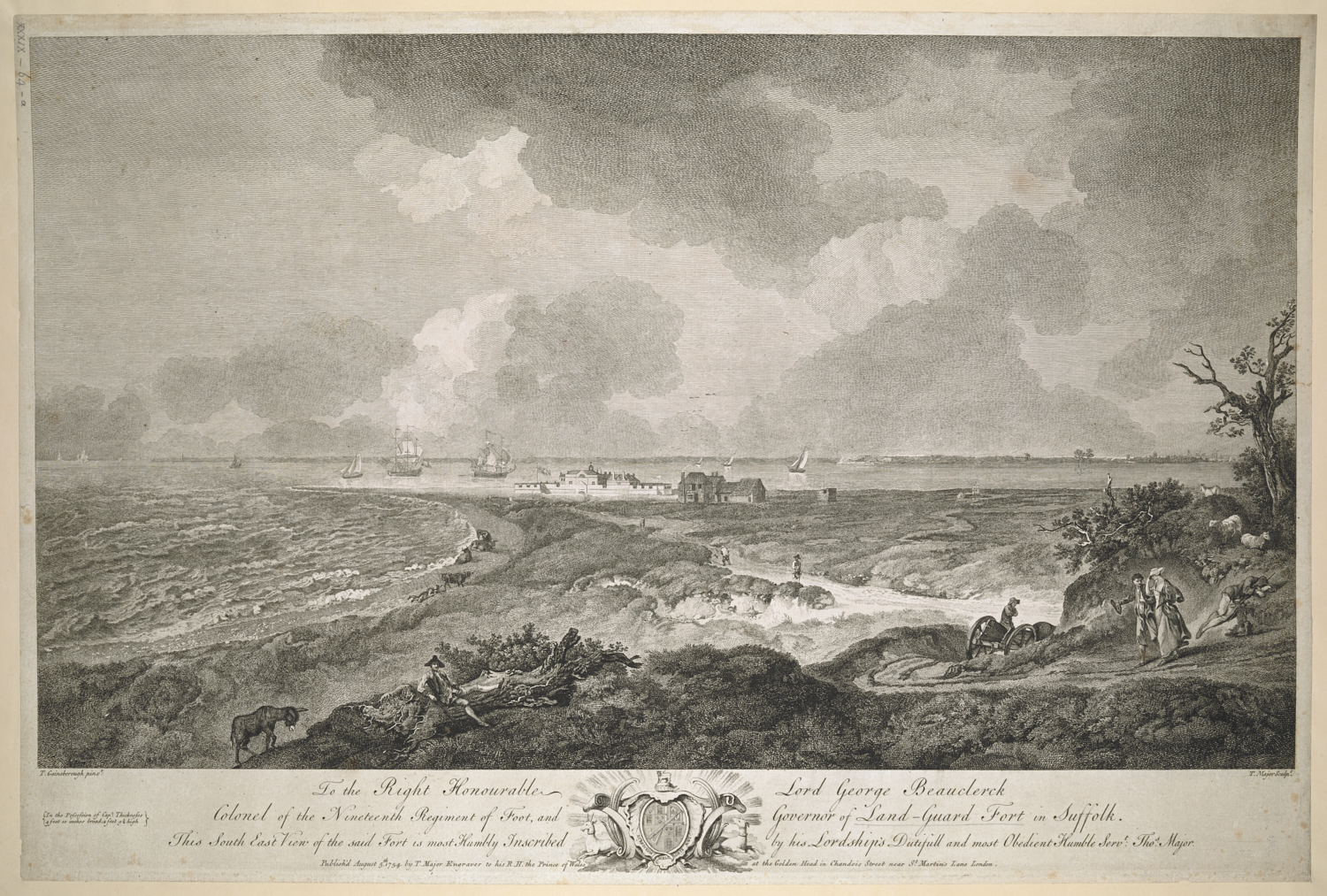 Thomas Major (1720-99) after Thomas Gainsborough (1727-88), S.E. View of Landguard Fort, London, Thomas Major, 5 August, 1754, etching and engraving, platemark 406 x 607 mm, image 343 x 592 mm, Maps K.Top.39.64.a.