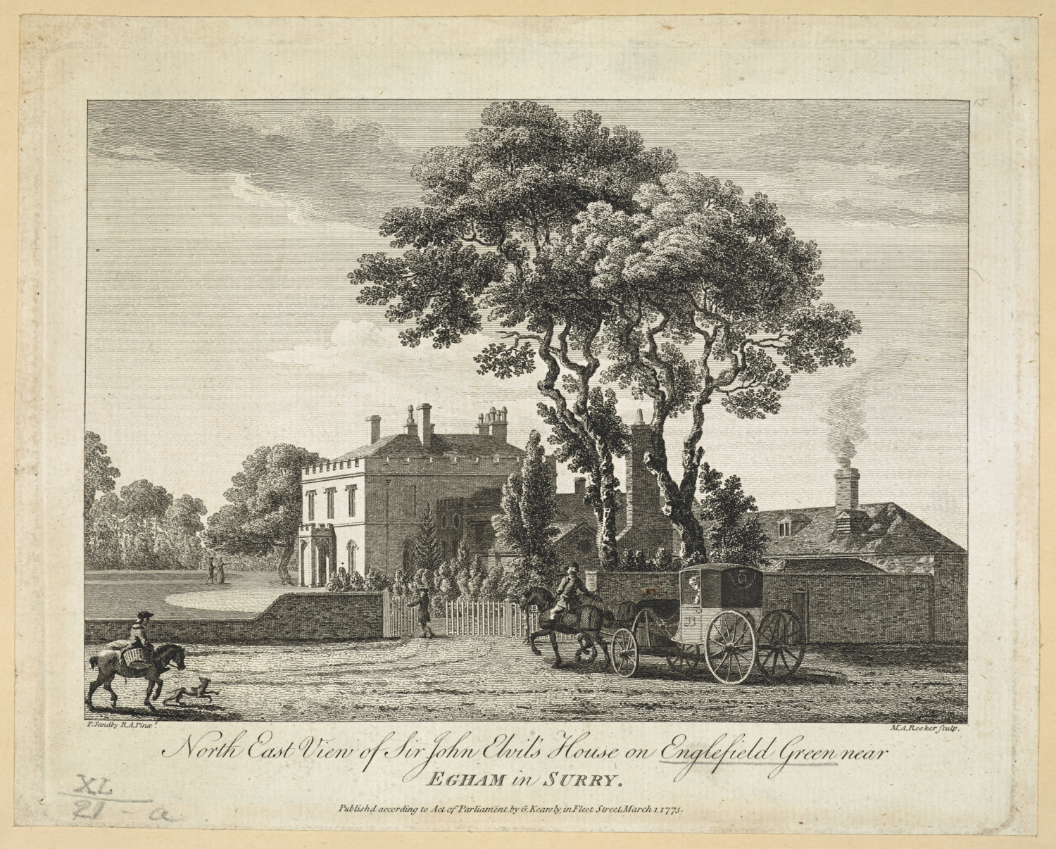 North East View of Sir John Elvil's House on Englefield Green near EGHAM in SURRY. / P. Sandby pinxt. ; M. A. Rooker sculp.