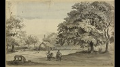 Summary: Two horses and riders on a path; a well on the left; chickens, mother and children and a house in the background; trees throughout the scene. Signed, titled and dated in the lower right-hand corner. Bears watermark Horn / 4 / L V GERREVINK.