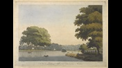 Rowing boats on a river; houses on a hill in the distance; trees throughout the scene; Richmond Bridge, 1776. ; From the Original Picture, in the possession of James Paine, Esq.r, to whom this Plate is Inscrib'd, by his obedient & oblig'd Servant, V: Green. / Painted by W: Hodges. ; Engrav'd by V: Green & F: Jukes.