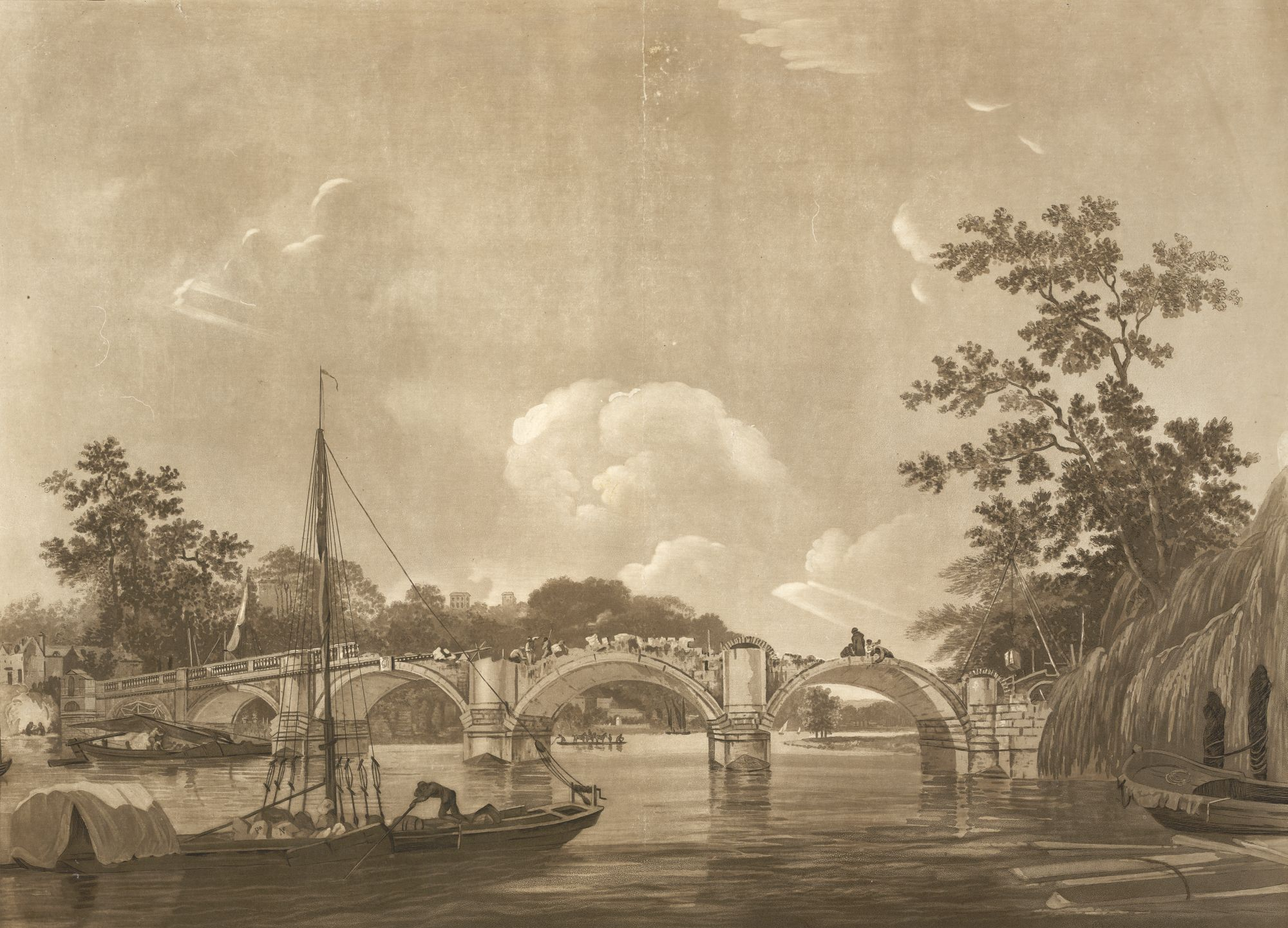 View of Richmond Bridge, the elegant bridge under construction with one of the arches still raw brick and the balustrade half-way across the bridge, workmen at work on the span, barges and boats on the water to the foreground with a horse ferry beyond, a boat tied up by the willows on the right shore, houses amongst the trees to the far bank.  The BM lists this as part of a series called 'Antiquities'.  Titled 'View of Richmond Bridge, by Hodges, 1776; engraved by Green and Jukes.' in the Catalogue of Maps, Prints, Drawings, etc., forming the geographical and topographical collection attached to the Library of his late Majesty King George the third, etc., London, 1829.  Citation/references note: Whitman, Alfred, British Mezzotinters: Valentine Green, London, A H Bullen, 1902, 315