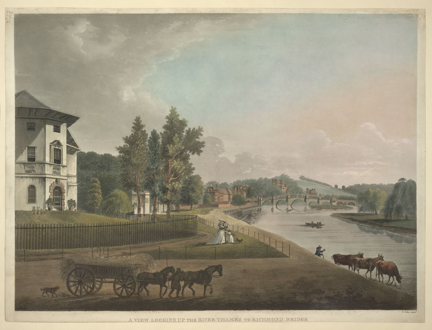 Horses and a cart containing hay in the left-hand corner; houses and gardens along the bank of the River Thames; cattle by the water; Richmond Bridge in the distance; trees throughout the scene; A VIEW LOOKING UP THE THAMES TO RICHMOND BRIDGE. / F. Jukes Aquat. Francis Jukes, 1745-1812, printmaker, publisher. [London] : [Published June 4th 1795 by F. Jukes, No. 10 Howland St.], [June 4 1795]