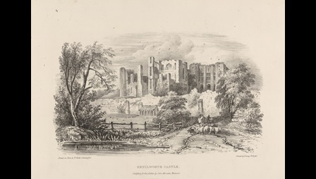 A lithograph showing the ruins of Kenilworth Castle.