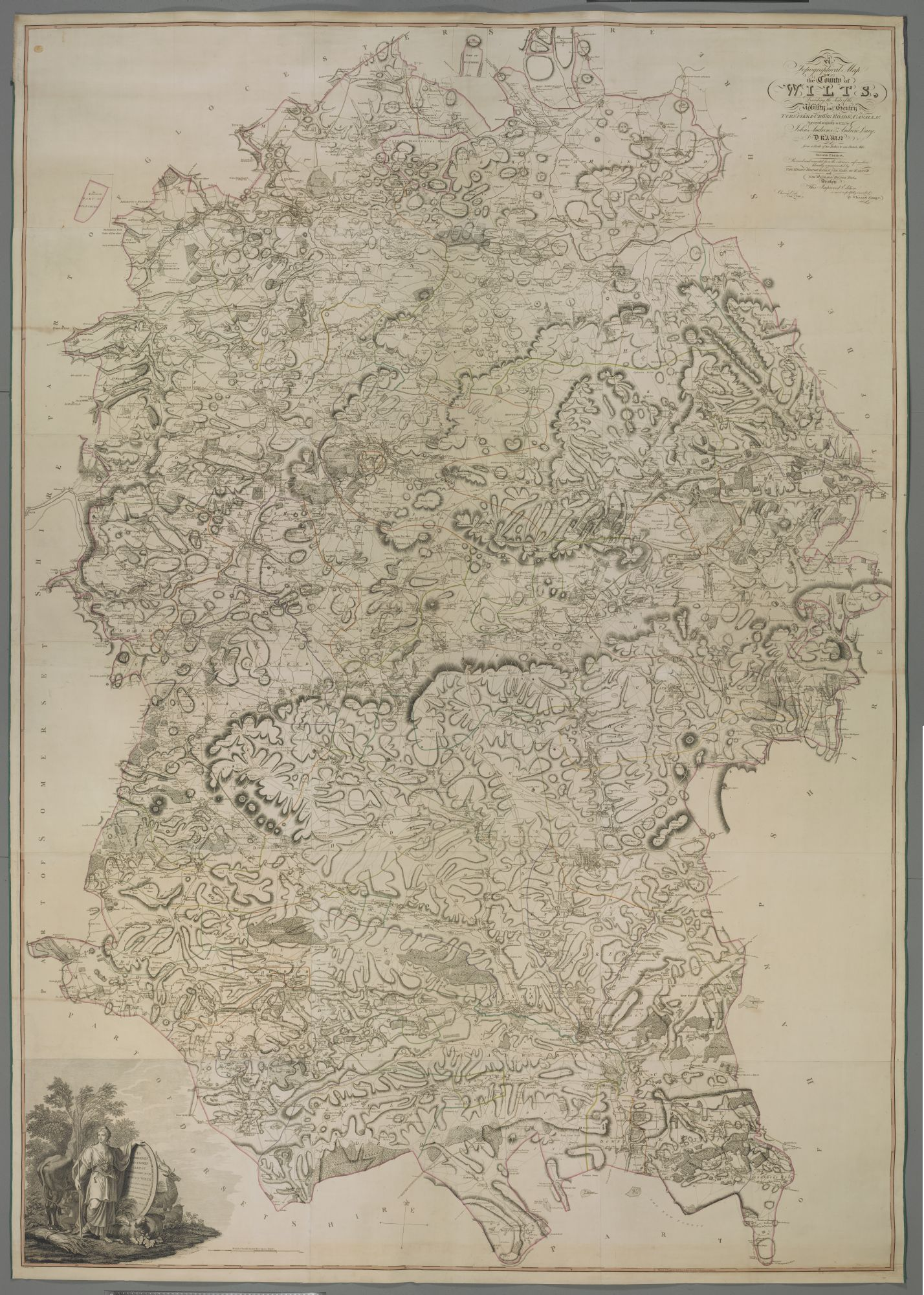 A Topographical Map OF the county of Wilts Describing the Seats of the Nobility and Gentry Turnpike & Cross Roads, Canals, &c., by John Andrews.