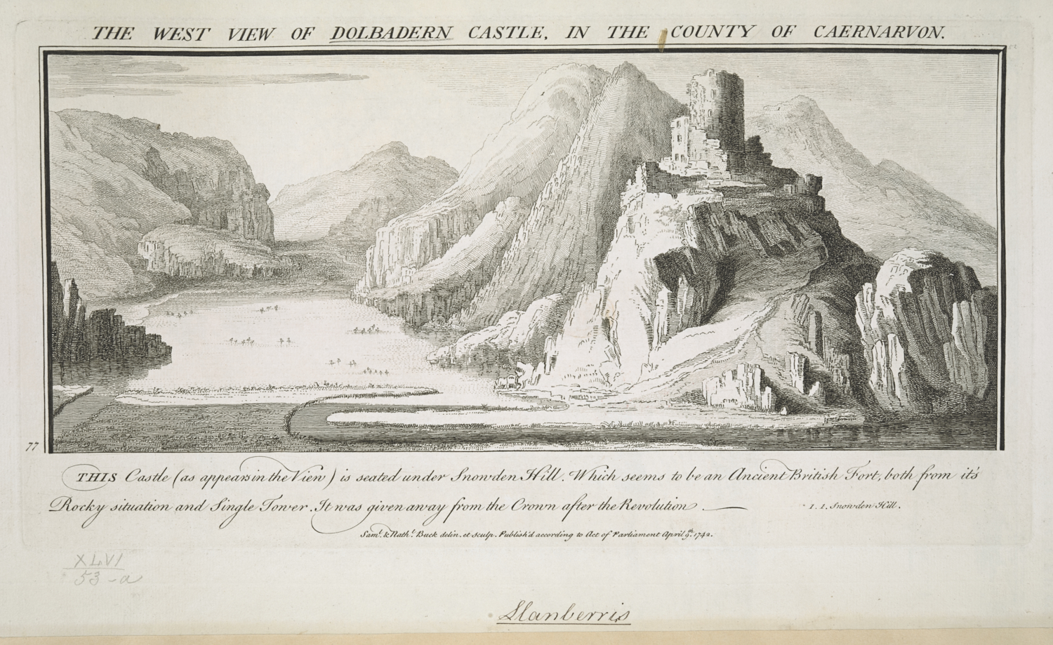 West View of Dolbadern Castle, by Buck.