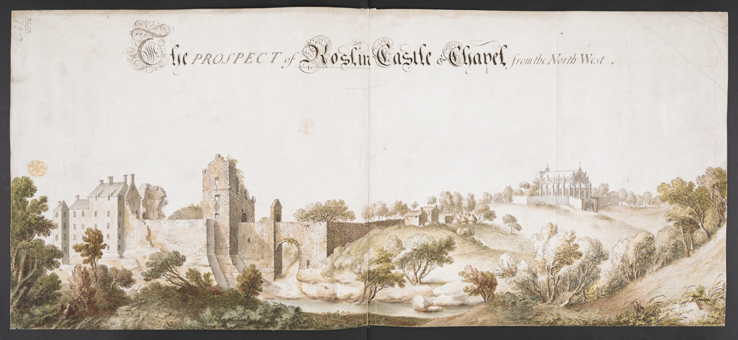 The ruins and buildings of Roslin Castle in the foreground; a hill in the middle ground; Roslin Chapel in the distance; trees throughout the scene. Inscribed with title in black ink along upper edge. Signed and dated in black ink in the lower right-hand corner.