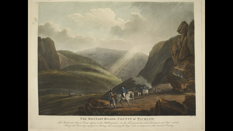 The Military Roads, County of Wicklow: The Roads and Aurora Camp, appear in the Middle ground - in the Fore ground the Lord Lieutenant and Suit - with the Soldiery and Peasantry employed in blasting, and removing the huge rocks