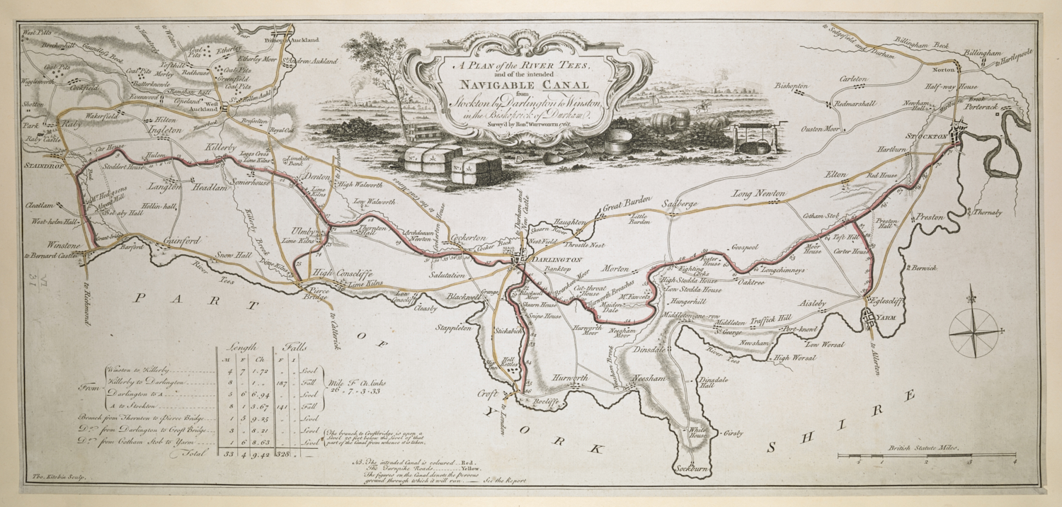 A Plan of the River Tees, and of the intended navigable Canal from Stockton by Darlington to Winston, in the Bishoprick of Durham, surveyed by Robert Whitworth, 1768.