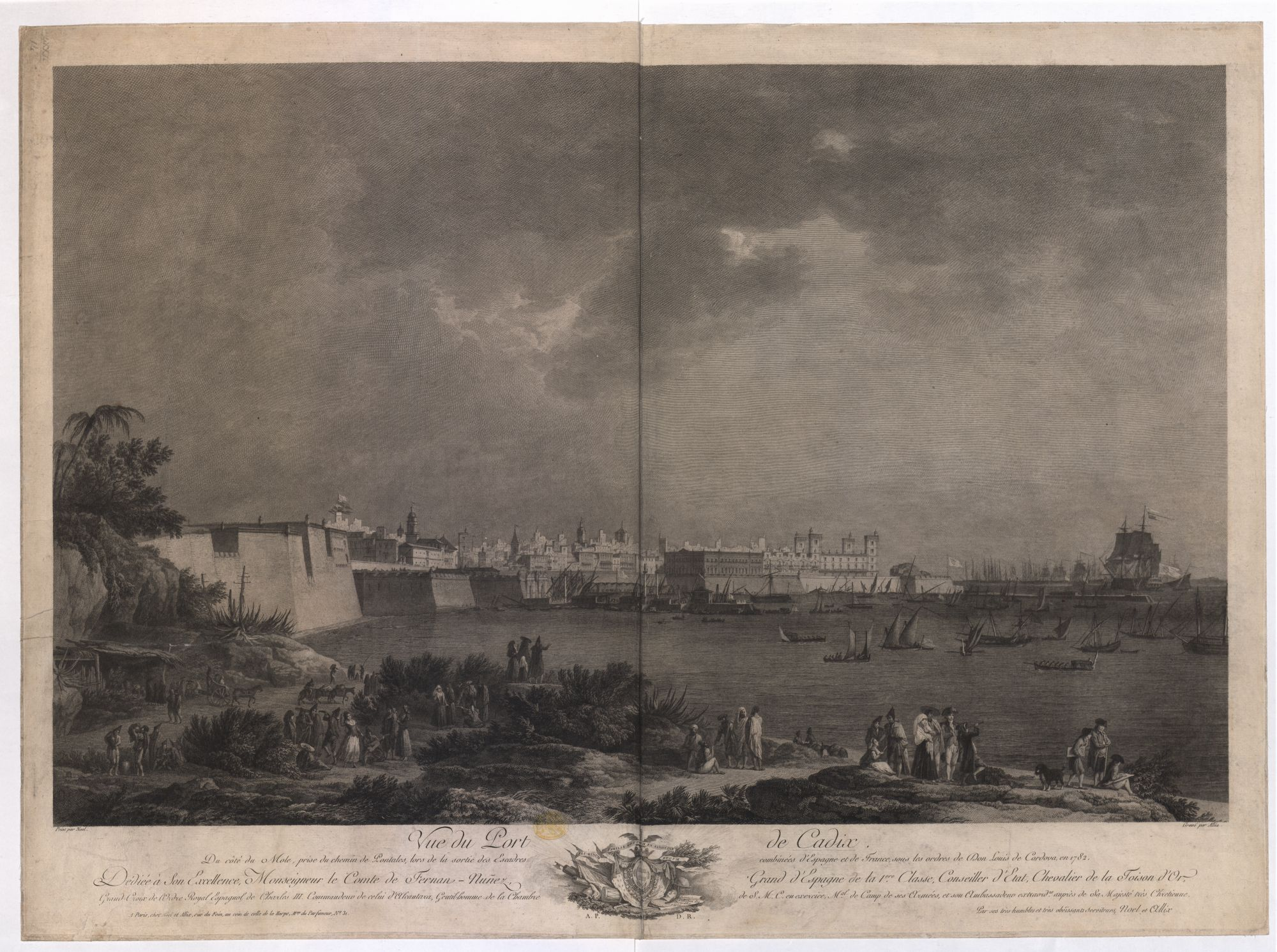 An engraved view of the port of Cádiz by François Allix after Alexandre Jean Noël.
