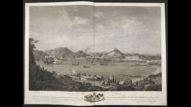 An engraved view of the port of Cartagena by François Allix after Alexandre Jean Noël.